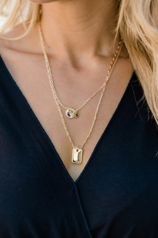 Away With Words Layered Necklace Gold