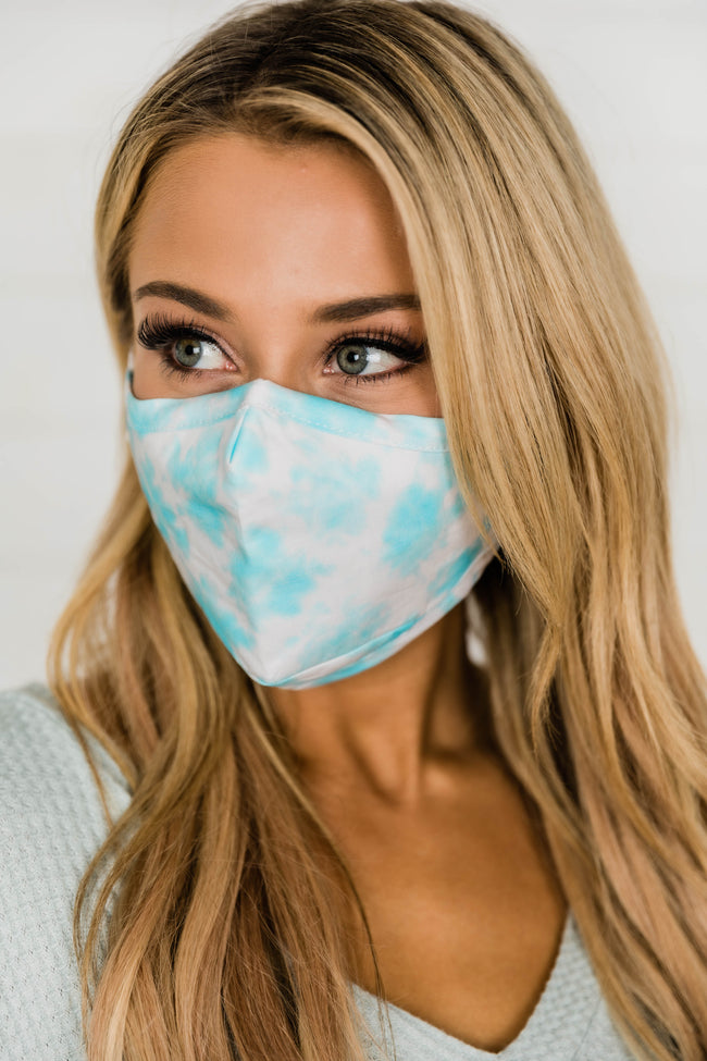 Effortless Style Blue Tie Dye Face Mask