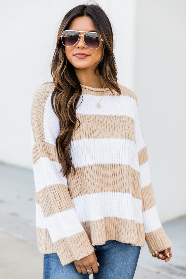 Curl Up With You Striped Sweater Beige