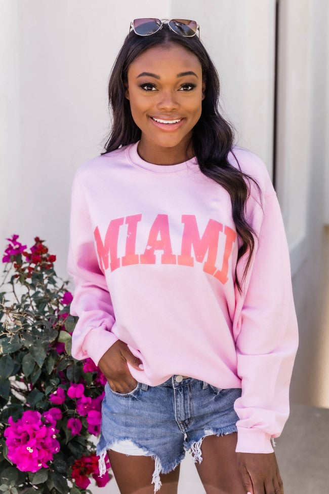 Miami Distressed Graphic Sweatshirt Light Pink