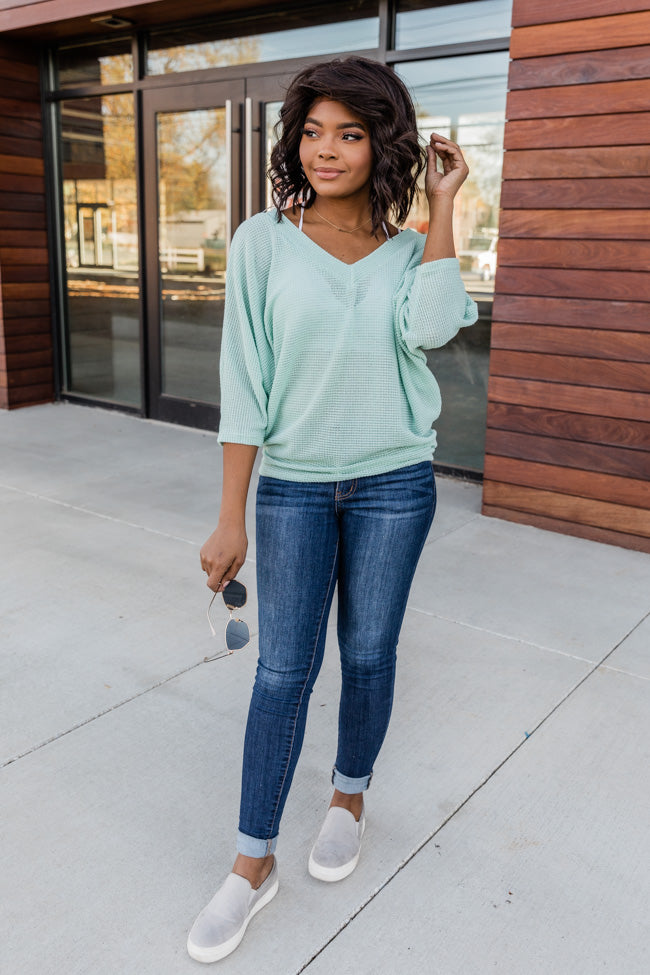 Make It Easy V-Neck Blouse Sage