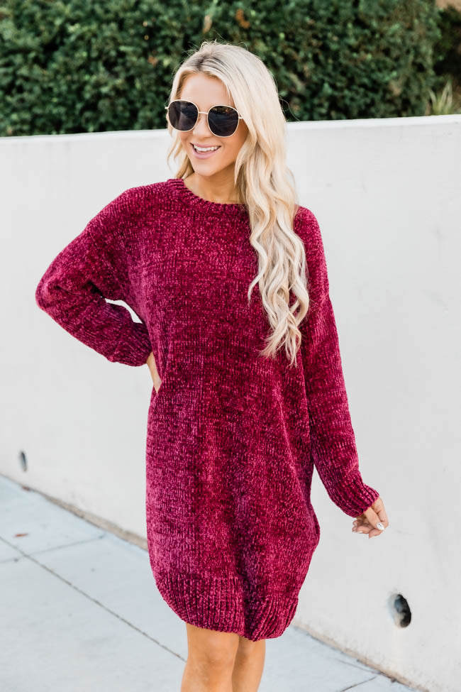 You Move Me Chenille Red Sweater Dress
