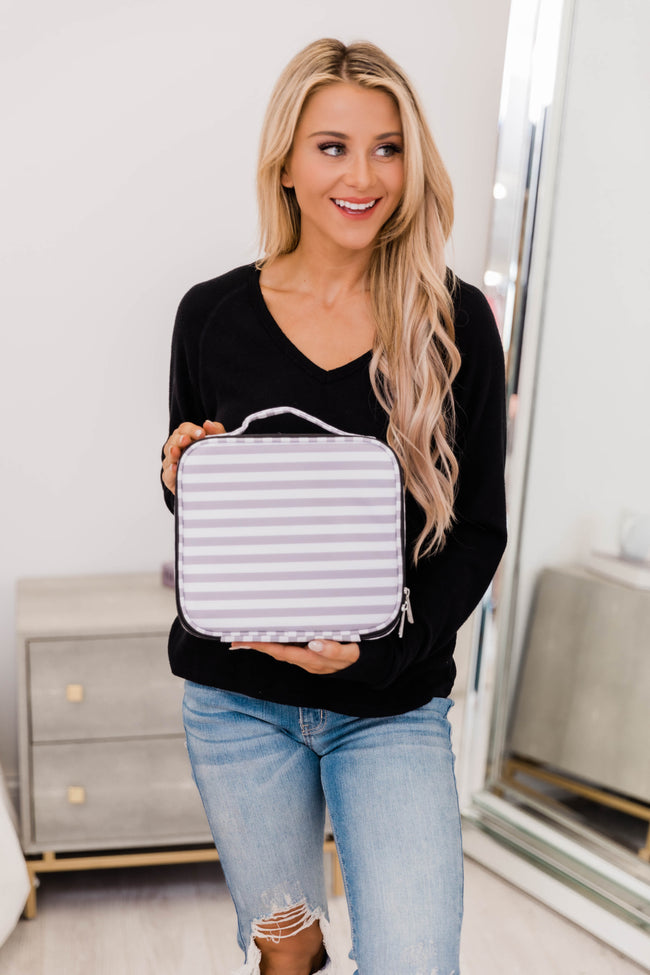 No Time To Spare Grey Stripe Makeup Bag