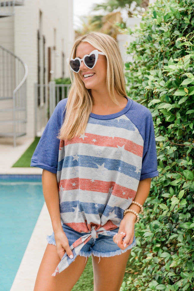 Living In Stars and Stripes Blouse Grey