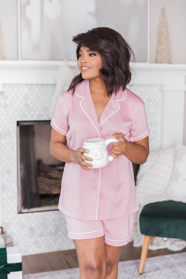 Silent Night Satin Pink Pajama Blouse