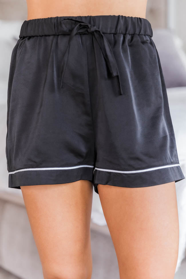 Silent Night Satin Black Pajama Shorts