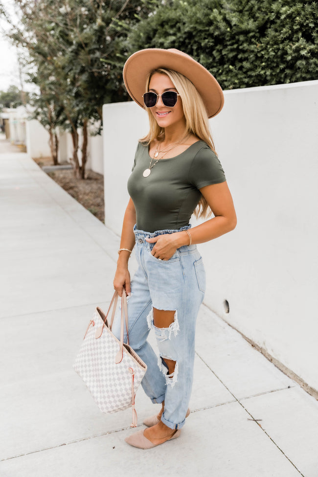 Spend Extra Time Olive Bodysuit