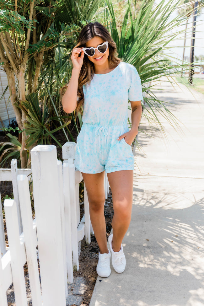 All About You Tie Dye Romper Blue