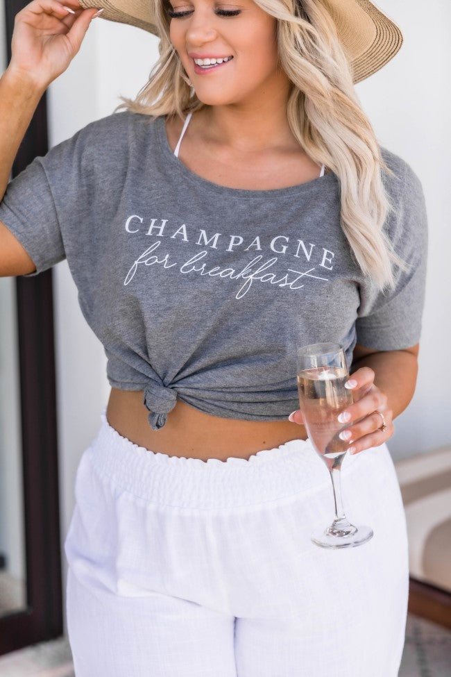 Champagne For Breakfast Grey Slouchy Graphic Tee