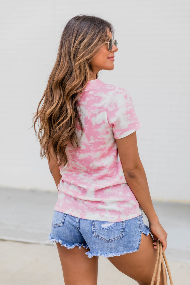Wonderfully Adored Tie Dye Tee Pink