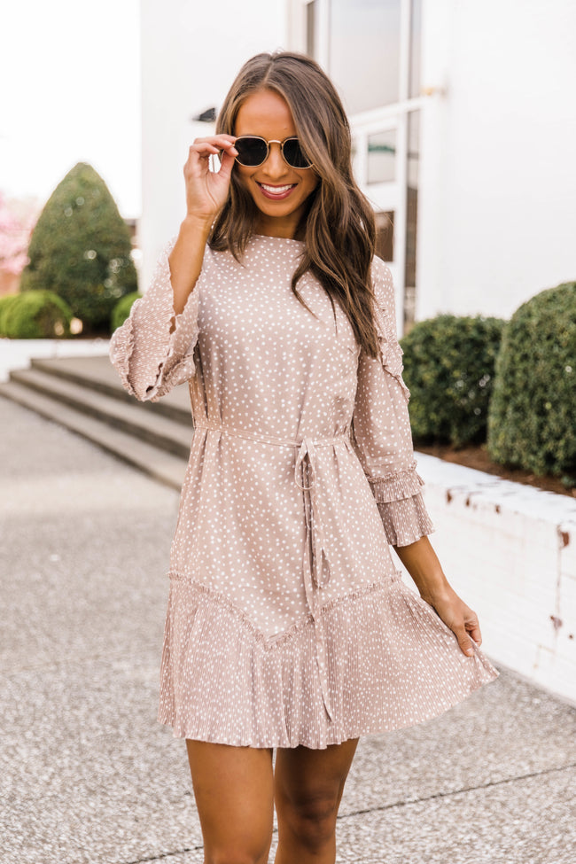 Tell You Why Polka Dot Dress Beige FINAL SALE