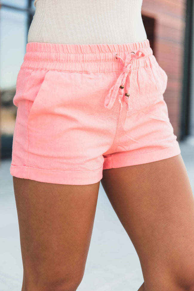 Wanting You Linen Shorts Coral