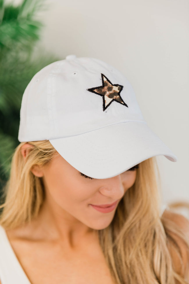 Animal Print Star Applique Baseball Cap White