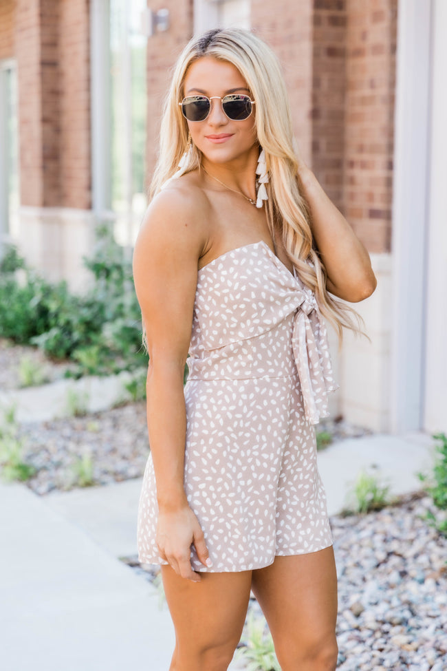 Run Away With You Romper Taupe