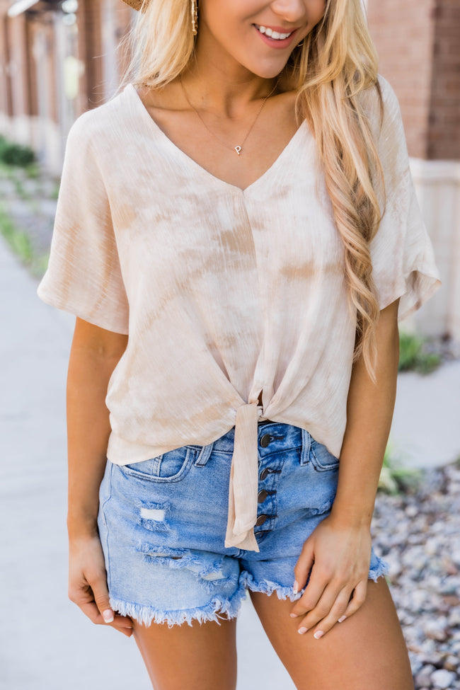 Blissful Daydreams Tie Dye Blouse Taupe