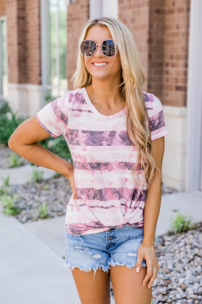 Catching Daydreams Tie Dye Striped Blouse Pink FINAL SALE