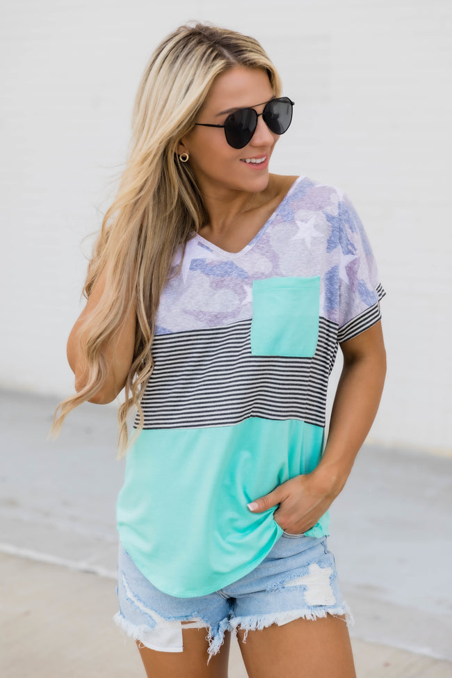 Caught Up In Time Colorblock blouse Mint