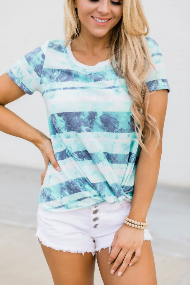 Catching Daydreams Tie Dye Striped Blouse Mint FINAL SALE