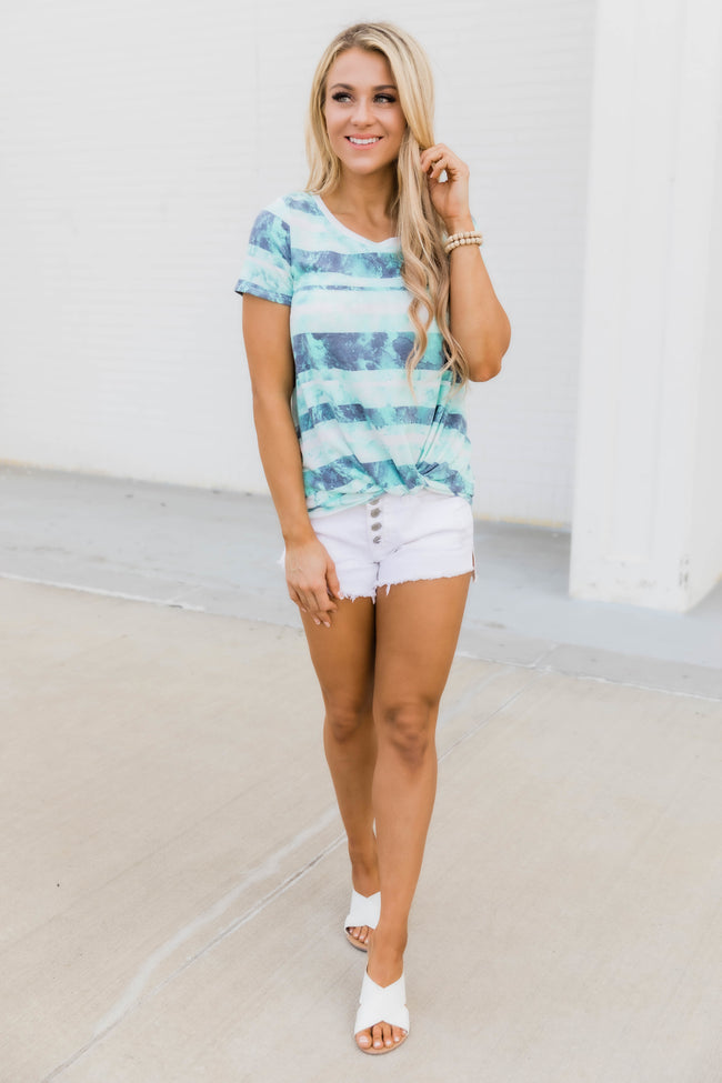 Catching Daydreams Tie Dye Striped Blouse Mint