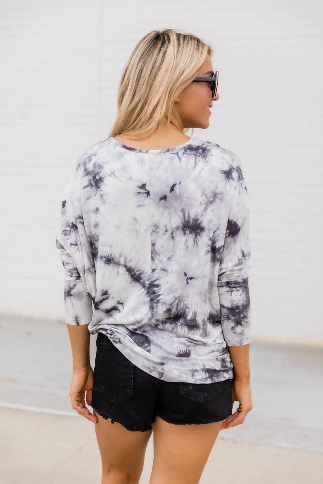 Wherever You Go Tie Dye Blouse Grey FINAL SALE