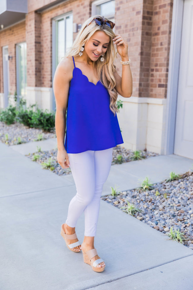 Confess My Love Scalloped Cami Royal Blue