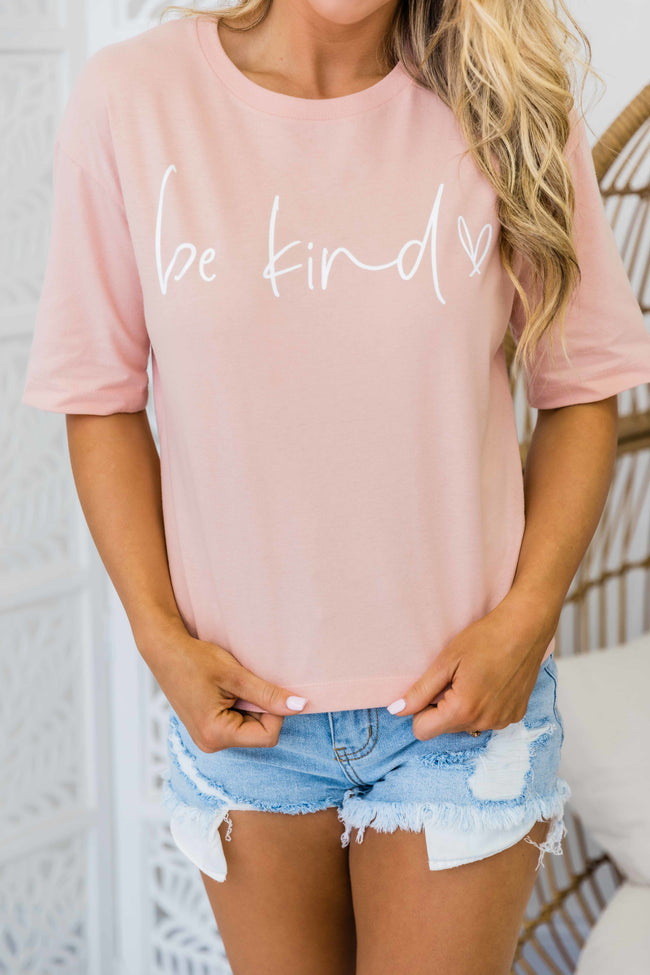 Be Kind Cropped Graphic Tee Dusty Peach