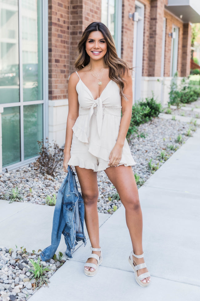Smile When I See You Beige Romper