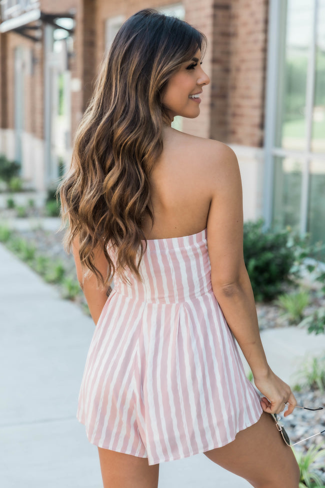 Following A Daydream Pink Striped Romper