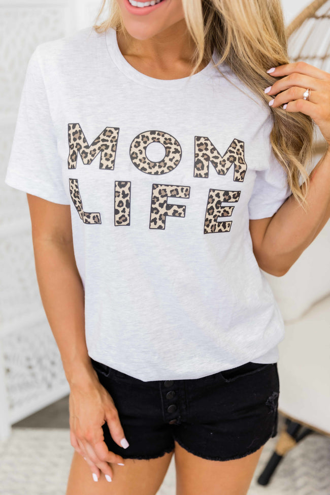 Mom Life Leopard Print Design Graphic Tee Ash