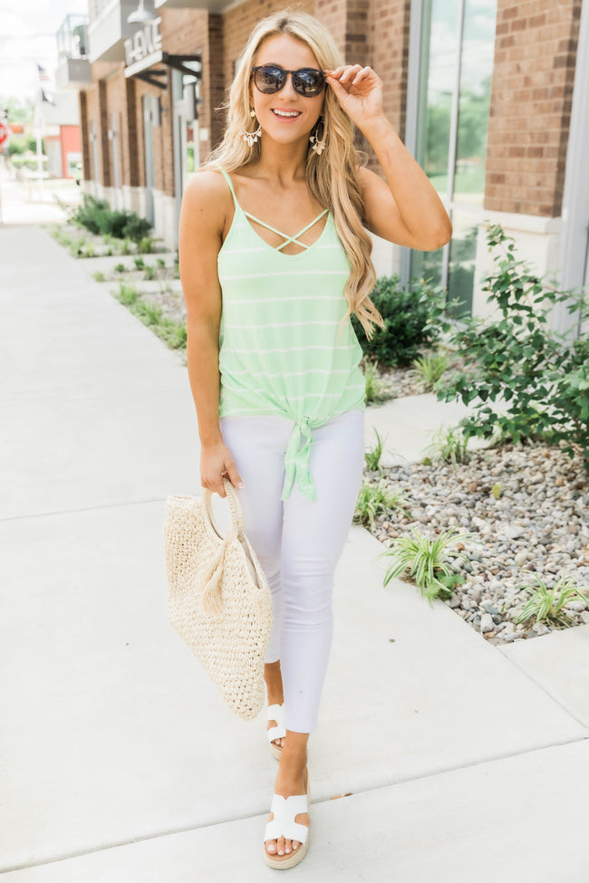 Terrific Trends Striped Tank Green