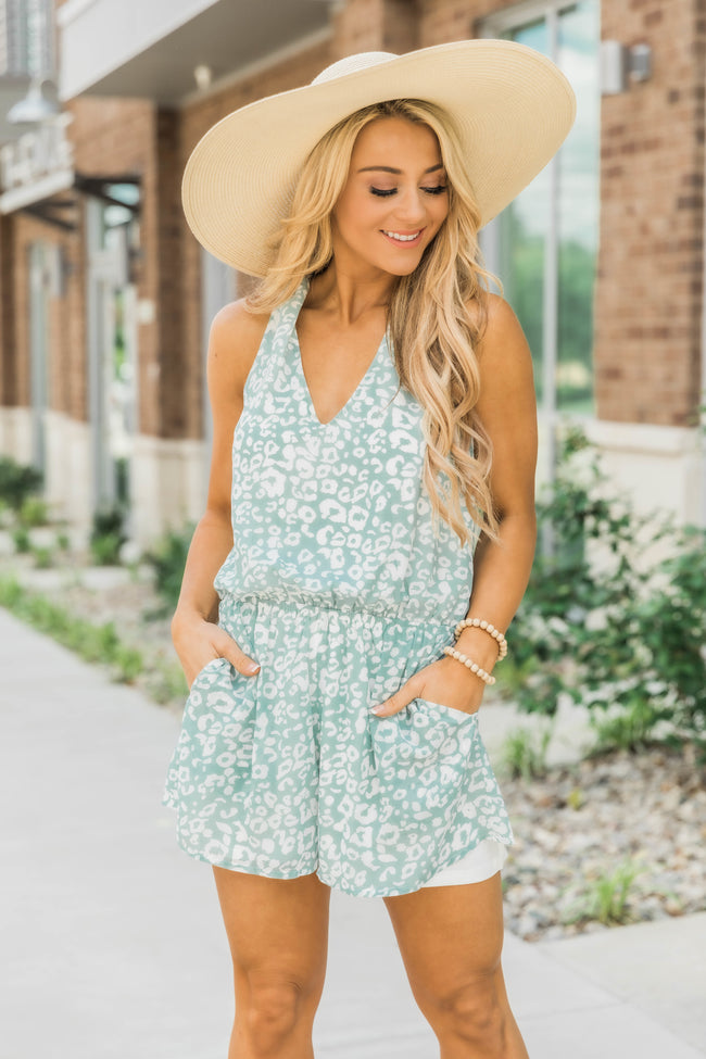 Won't Break Your Heart Animal Print Romper Teal