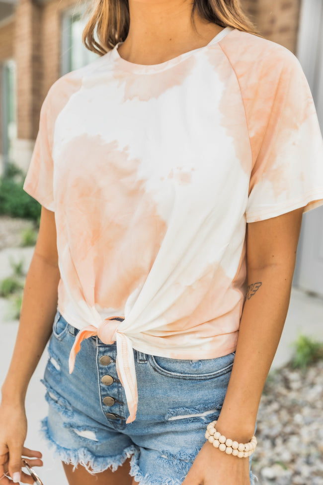 Memorable Feelings Tie Dye Tee Peach