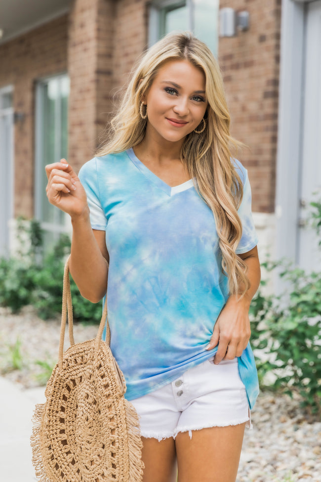 Dedicate My Time Tie Dye Blouse Blue/Purple