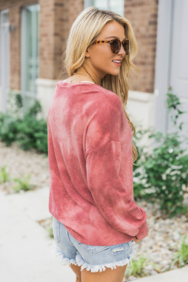 Just Try Again Tie Dye Blouse Red