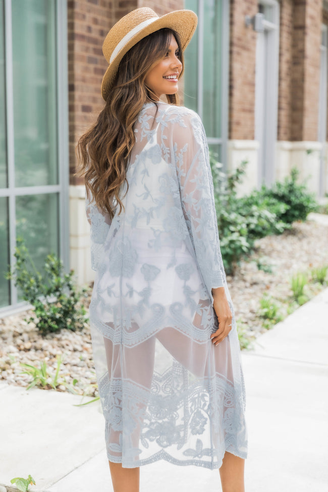 Over Joyed Lace Kimono Dusty Blue