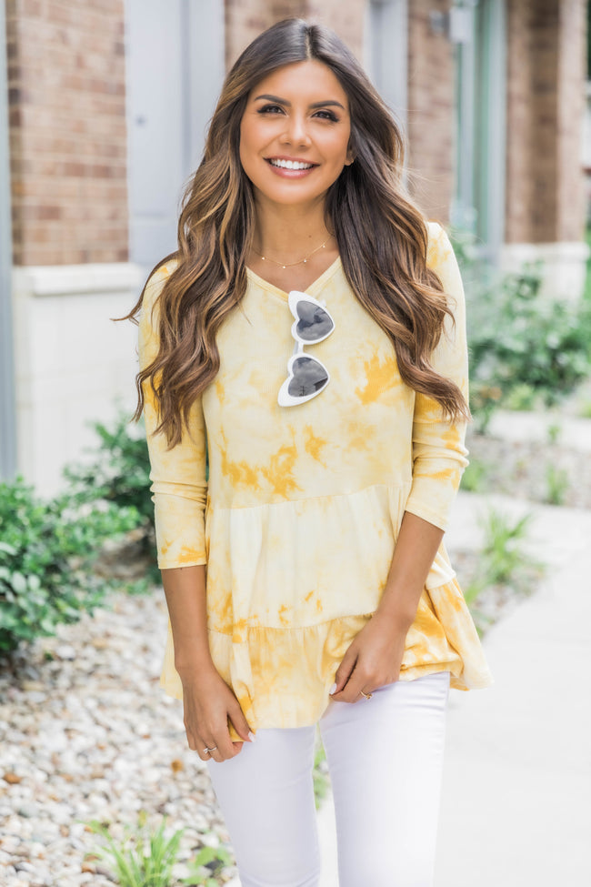 The Best Influence Tie Dye Top Yellow CLEARANCE
