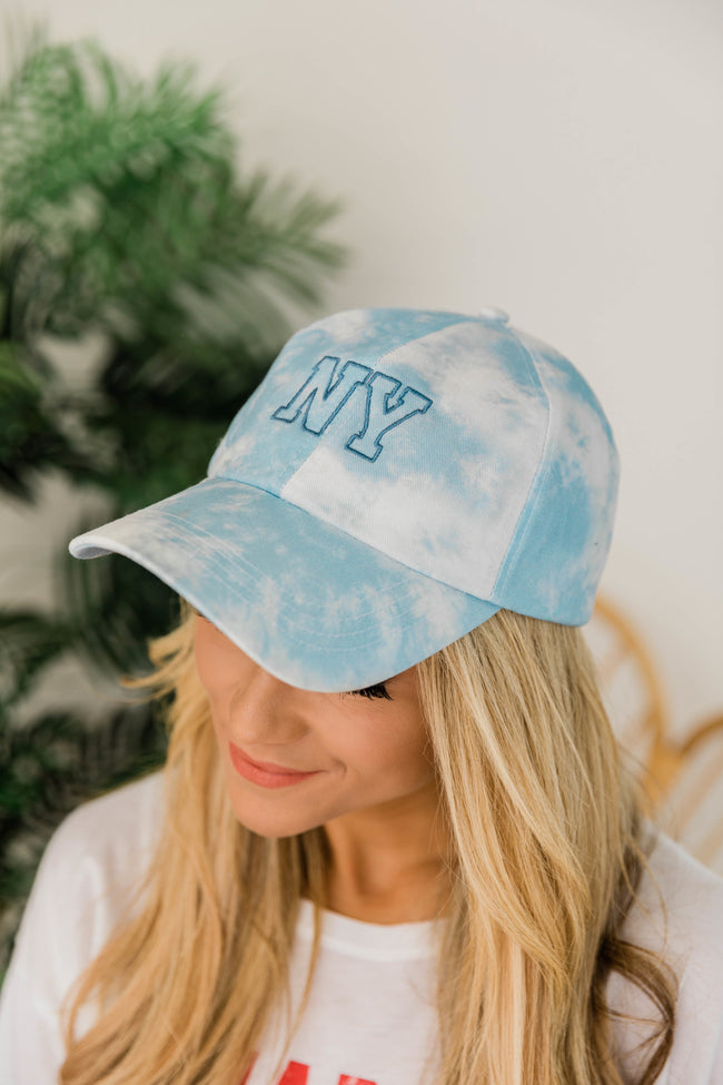 Embroidered State Tie Dye Hat Blue
