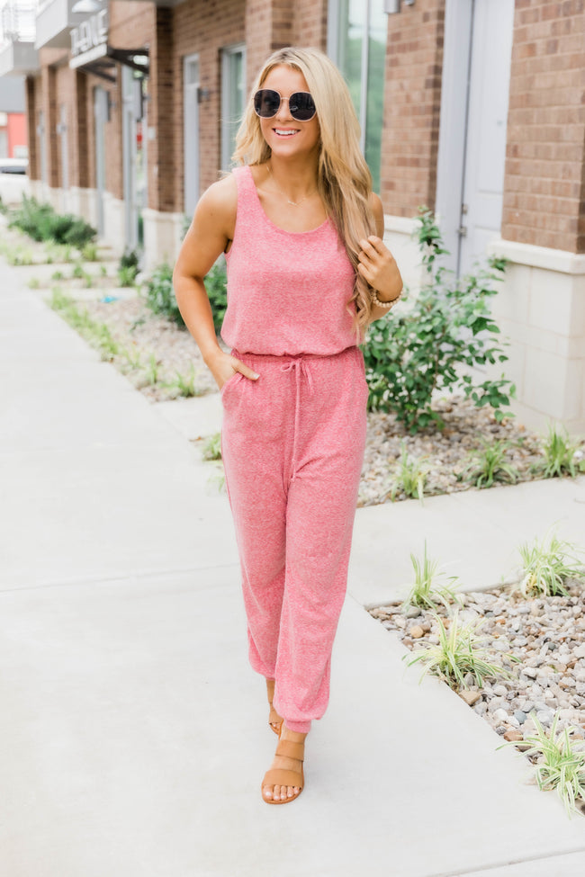 This Is Destiny Heathered Tank Jumpsuit Rose