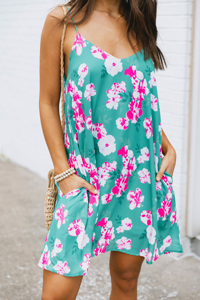 Cancun Is Calling Green Floral Dress