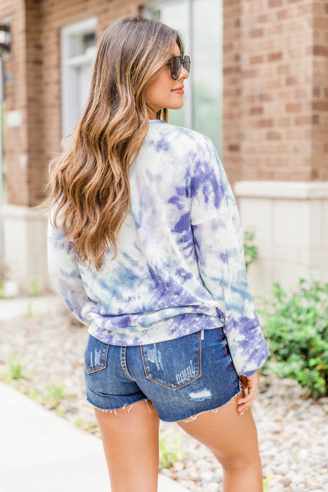 And They Say Waffle Knit Tie Dye Blouse Blue