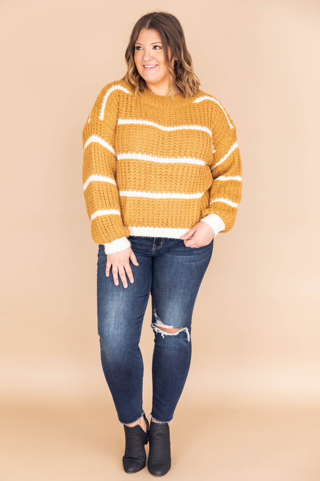 First To Fall In Love Mustard Striped Sweater