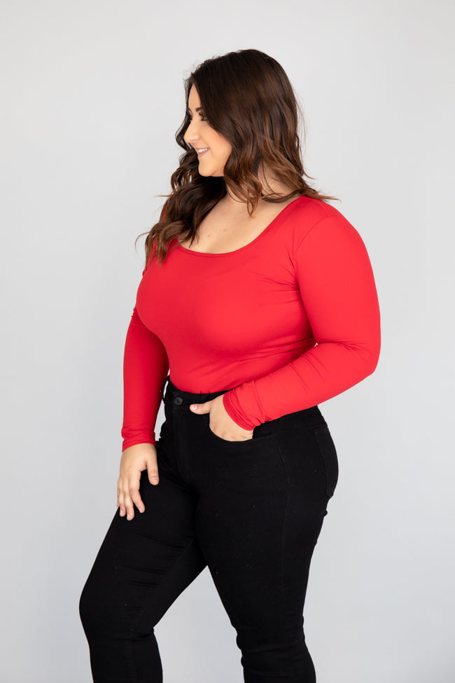 All I Know Square Neck Red Bodysuit
