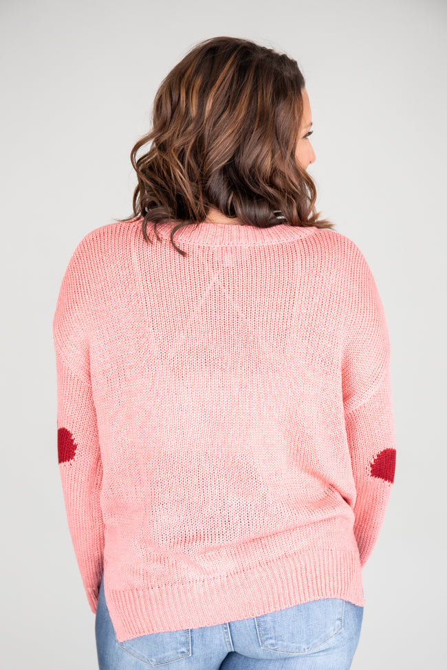 Simply Sweet Distressed Heart Pink Sweater FINAL SALE