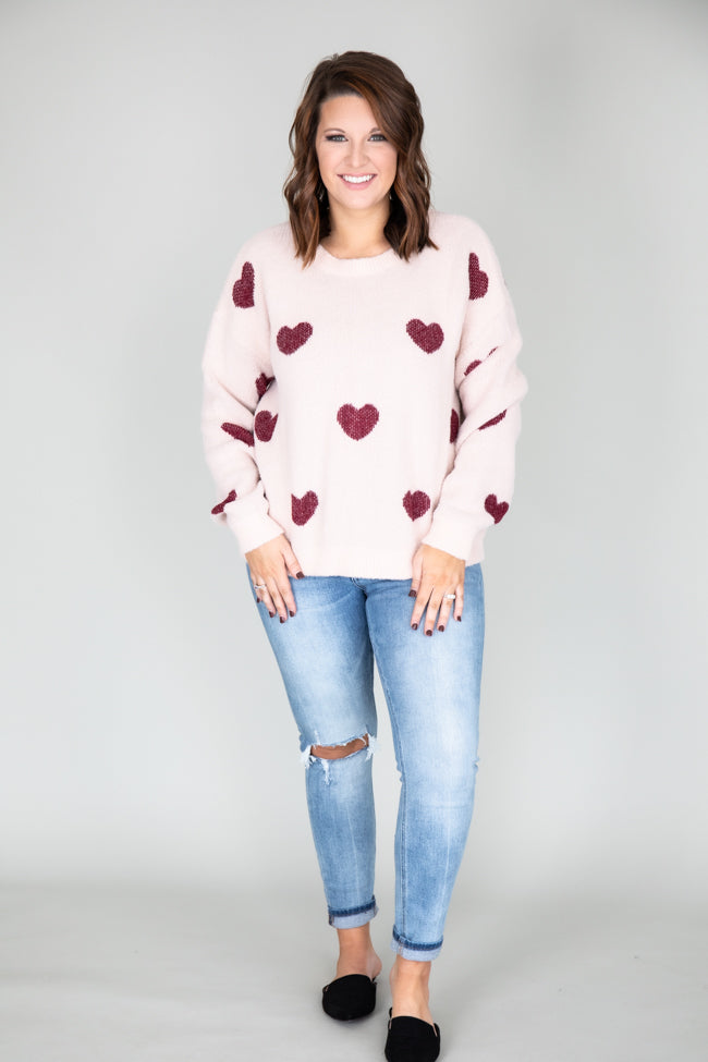 Serendipity Love Fuzzy Heart Pink Sweater FINAL SALE