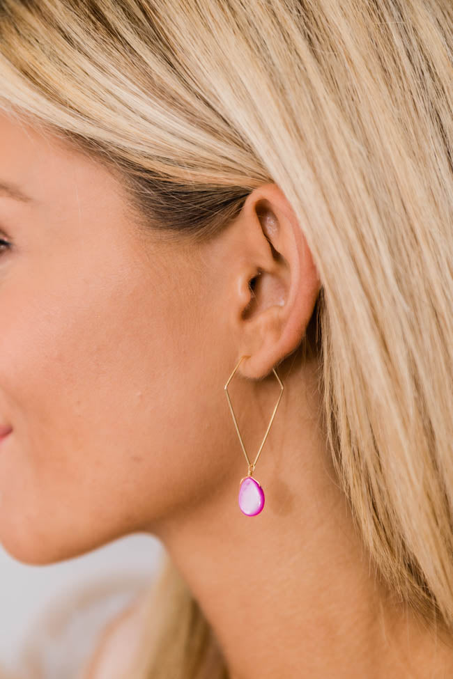Perfectly Fine Pink Stone Earrings