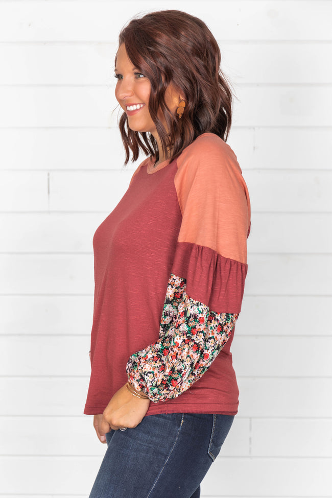 Dancing Daisies Burgundy Floral Blouse