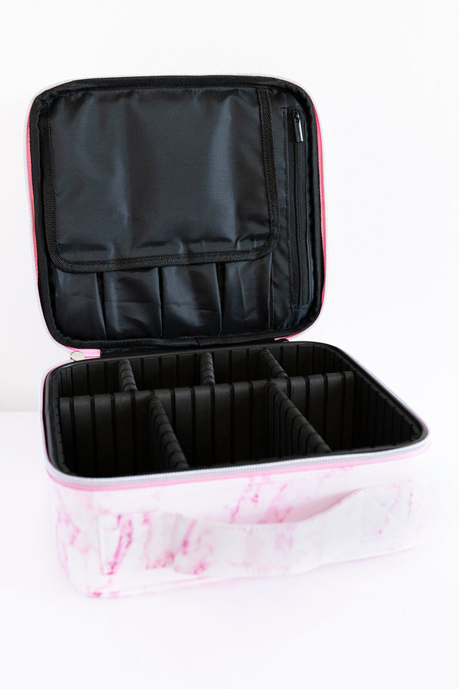No Time To Spare Pink Marble Makeup Bag