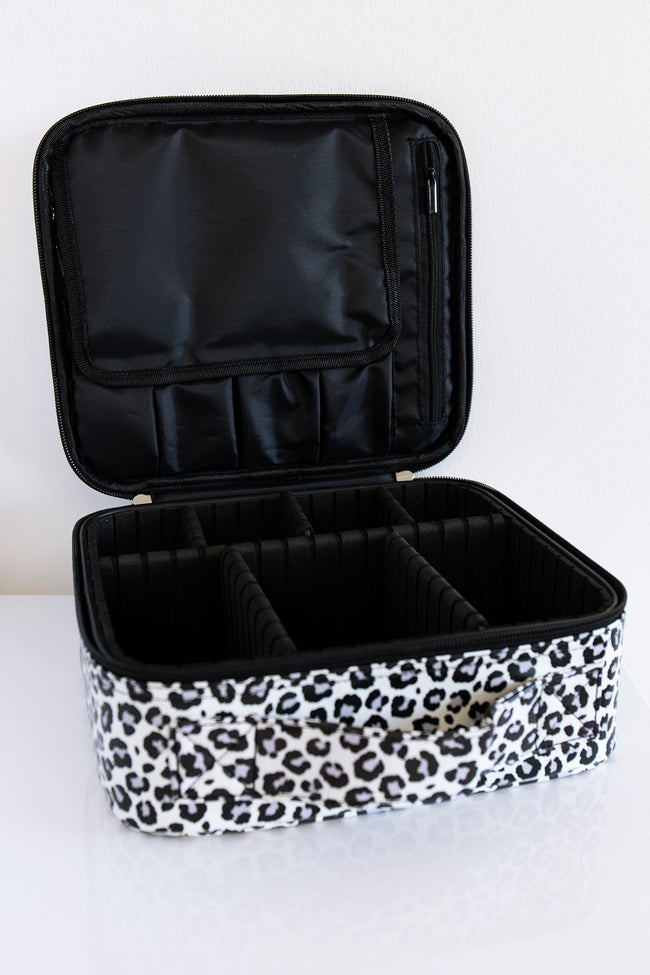 No Time To Spare Grey Animal Print Makeup Bag