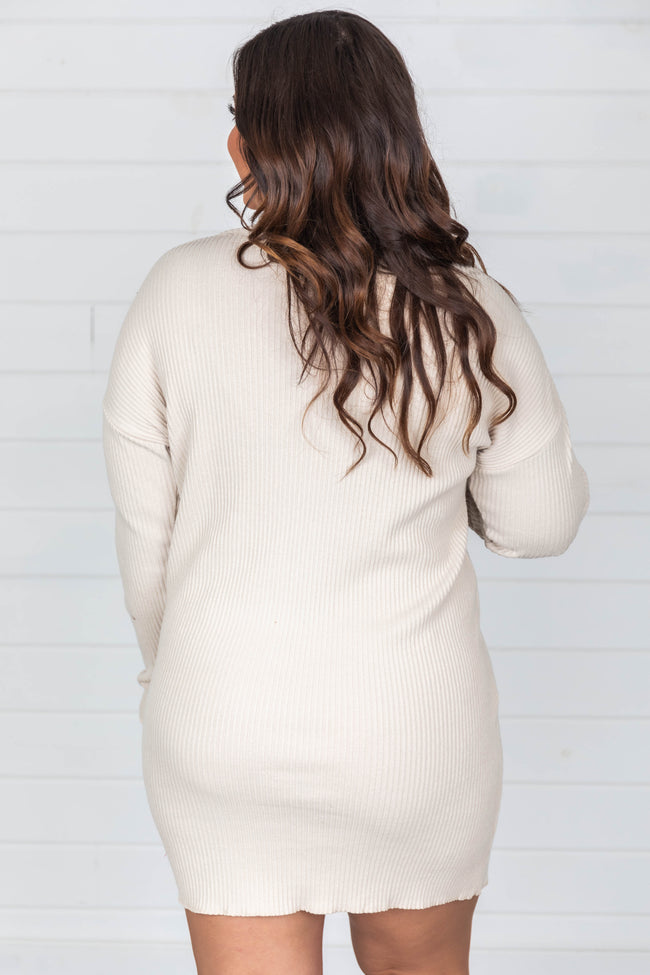 Hold You Closer Turtleneck Sweater Dress Beige FINAL SALE