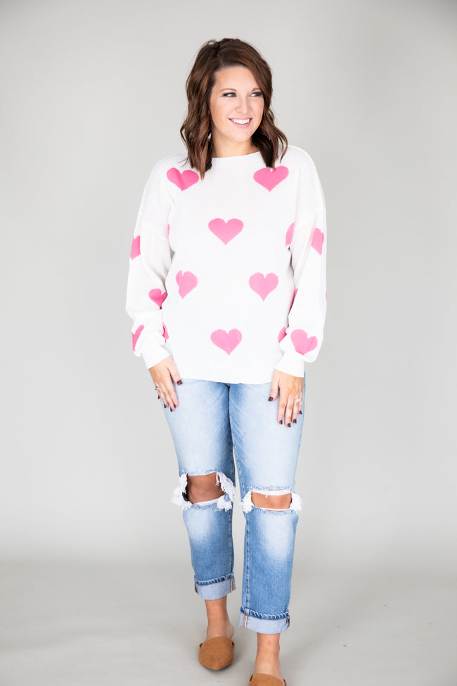 Heart Full Of Love White Sweater FINAL SALE